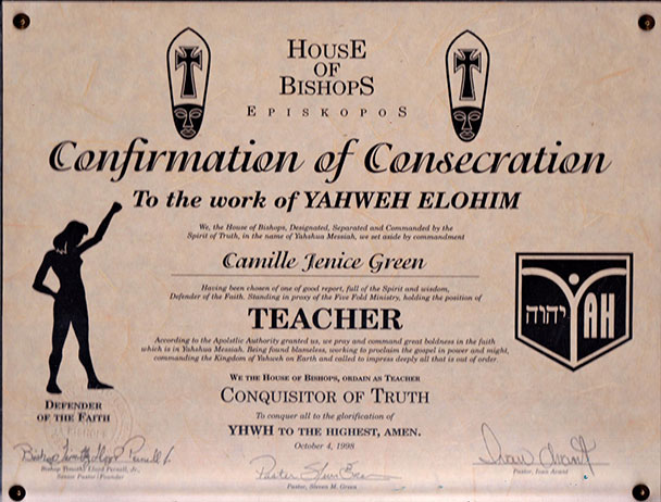 Confirmation of Consecration